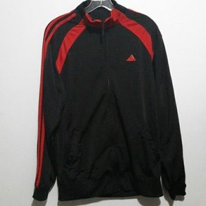 Adidas Black and Red Zip Up Track Jacket
